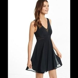 Express Sheer Inset Fit And Flare Dress 2